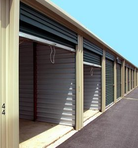 row of storage sheds